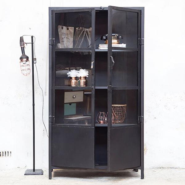 industrie design vitrinenschrank vitrine metallschrank schrank metall schwarz ebay. Black Bedroom Furniture Sets. Home Design Ideas